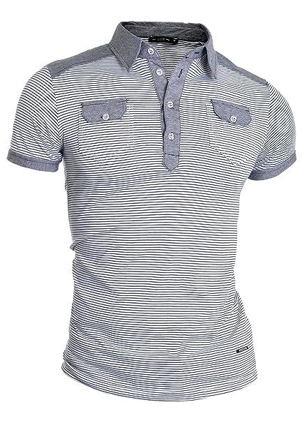 D&R Fashion Gris Hombre de la Manera Camisa de Polo Dos Bolsillos ...