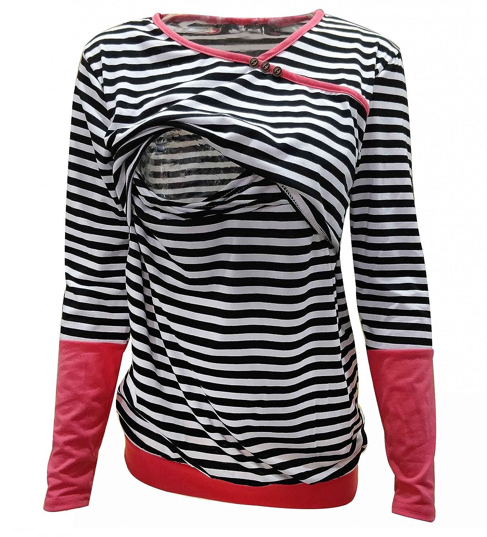 f865cb423ac Blouses & Button-Down Shirts Pinleck Womens Maternity Nursing Tops Striped  Long Sleeves Breastfeeding Shirts Tshirt