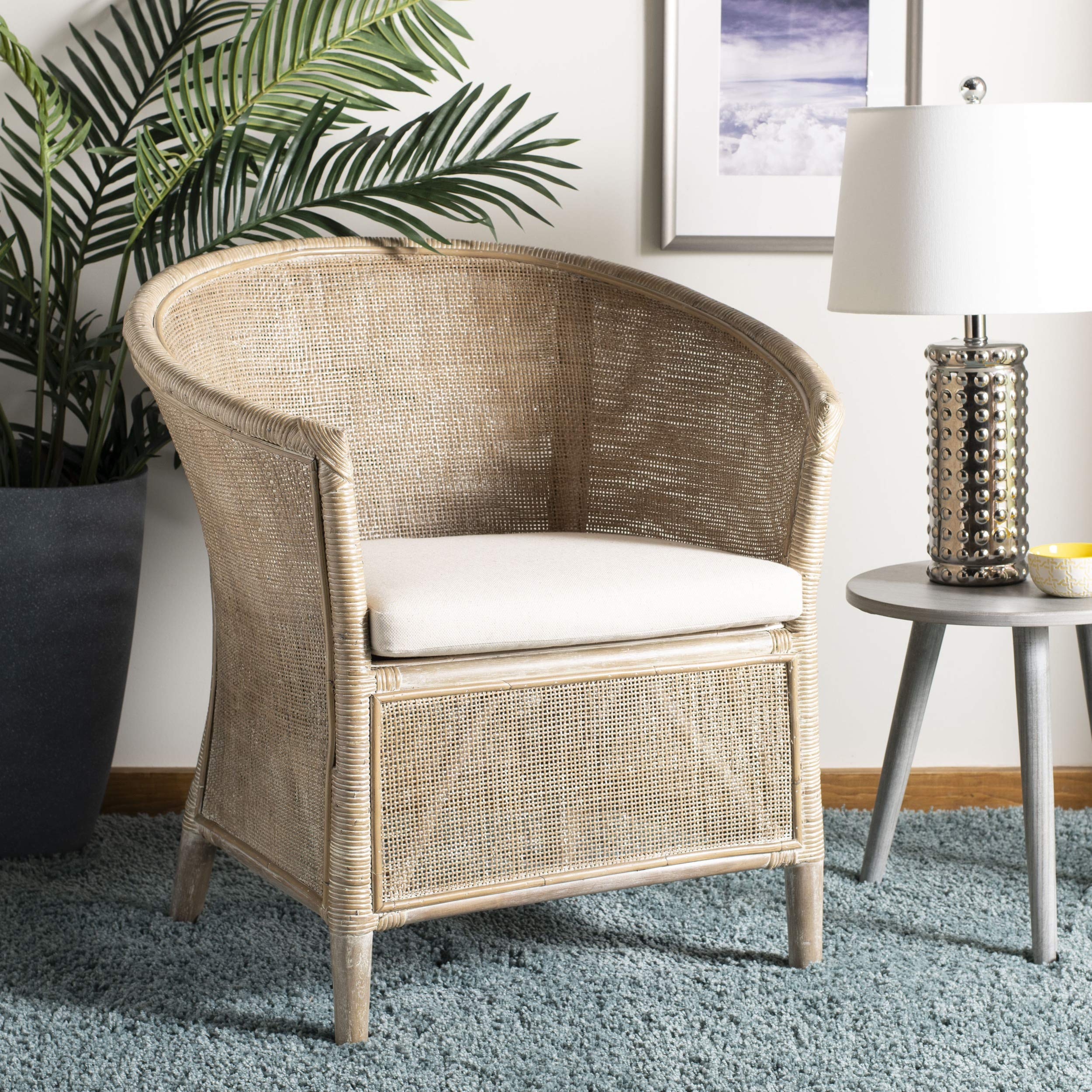 Safavieh Home Collection Alexana Rattan Grey White Wash Armchair Accent Chair by Safavieh