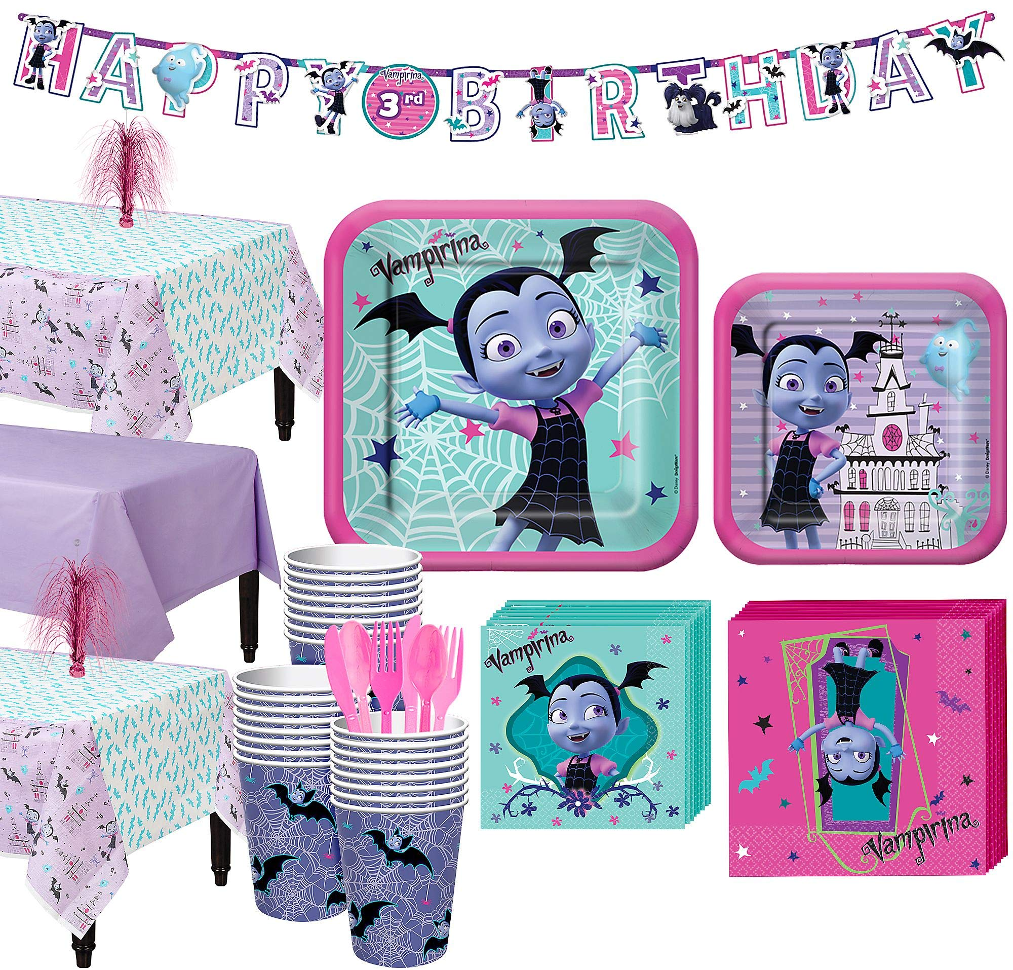 Party City Vampirina Party Supplies, for 24 Guests, Include Plates, Napkins, Table Covers, a Banner, and Centerpieces by Party City
