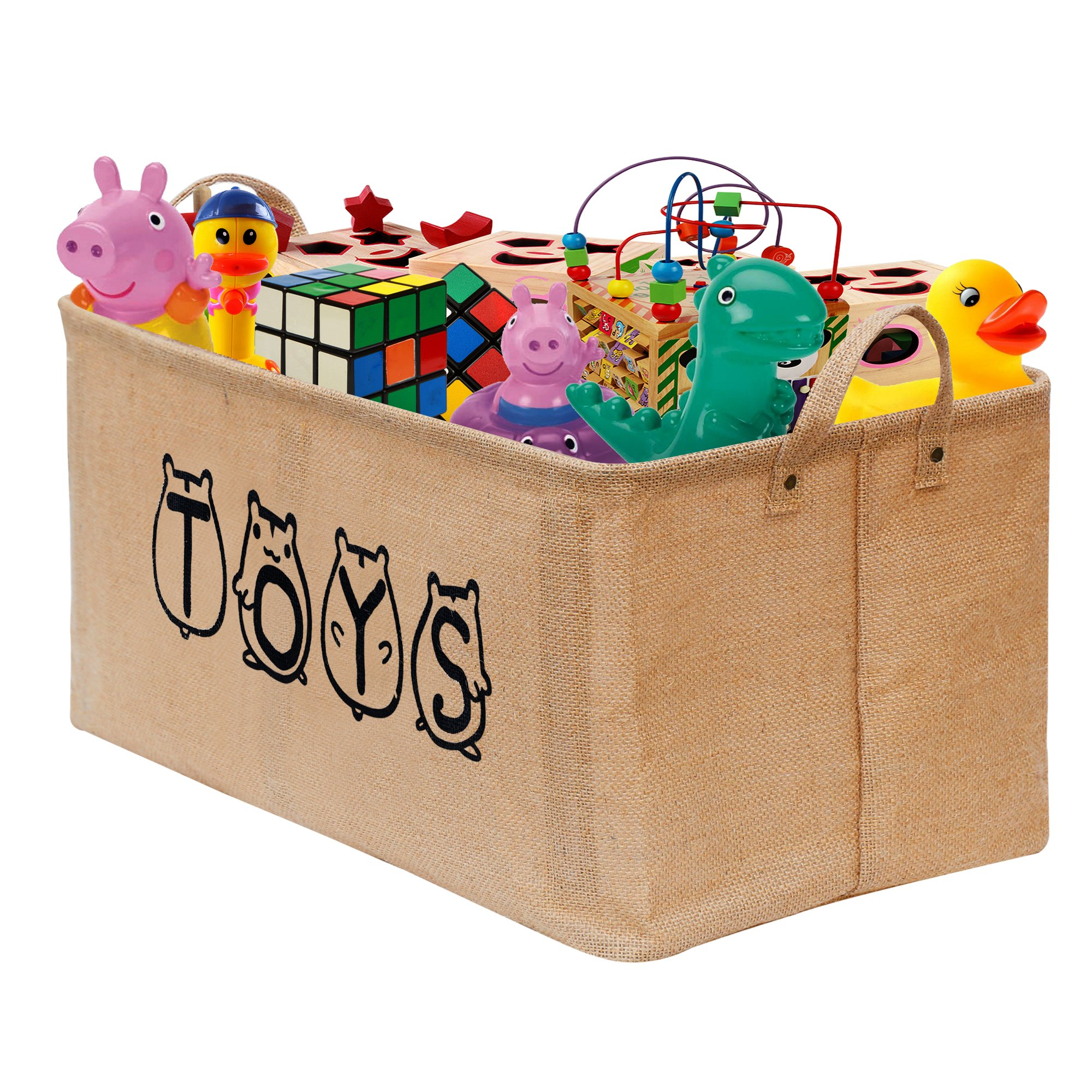 "Gimars 20"" Cute Well Holding Shape Jute Toy Chest Baskets Storage Bins Organizer - Perfect for Organizing Toy Storage, Baby Toys, Kids Toys, Dog Toys, Baby Clothing, Children Books, Gift Baskets"