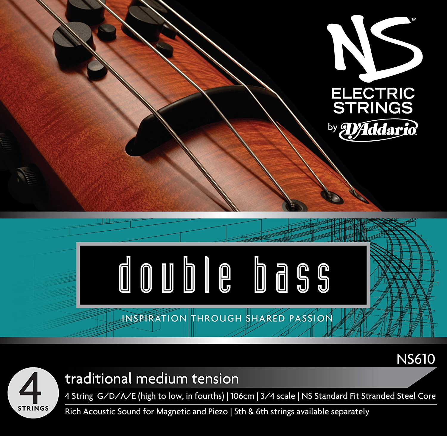 D'Addario NS Electric Traditional Bass String Set, 3/4 Scale, Medium Tension D' Addario NS610