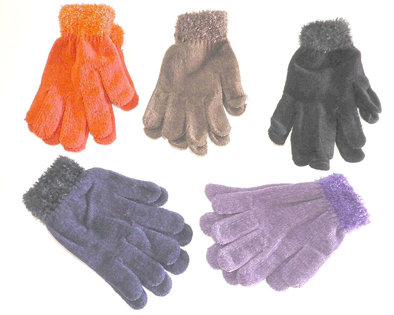 d9a13795917 (3 Pair) Ladies Warm Chenille Knit Magic Gloves With Feathered Cuff One  Size Fits