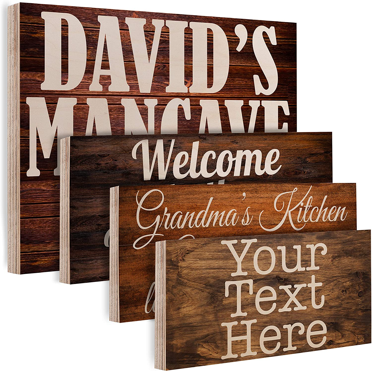 Personalized Wood Signs for Gift - Customized Wooden Board, Plank Decoration Gifts - Custom Family Wood Sign, Name Date - Home Kitchen, Wall Art Farmhouse Vintage Rustic Wall Decor Different Size -C01