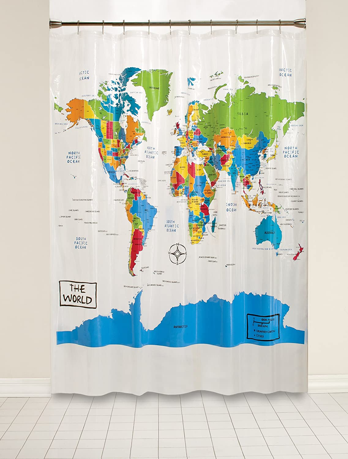 Amazon Com Skl Home By Saturday Knight Ltd The World Shower Curtain Multi Home Kitchen