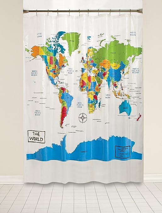 Amazon Saturday Knight The World Peva Shower Curtain Home – Map World Shower Curtain