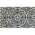 "DII Natural Coir Doormat, Geometric Doormat, Blue Tunisia Scroll, 18x30"""