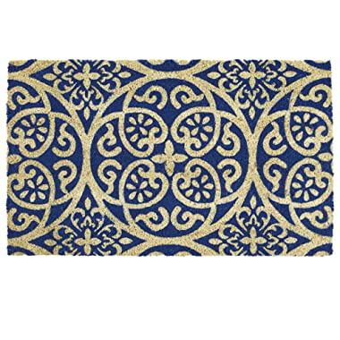 DII Indoor/Outdoor Natural Coir Easy Clean Rubber Non Slip Backing Entry Way Doormat For Patio, Front Door, All Weather Exterior Doors, 18 x 30  - Blue Tunisia Scroll