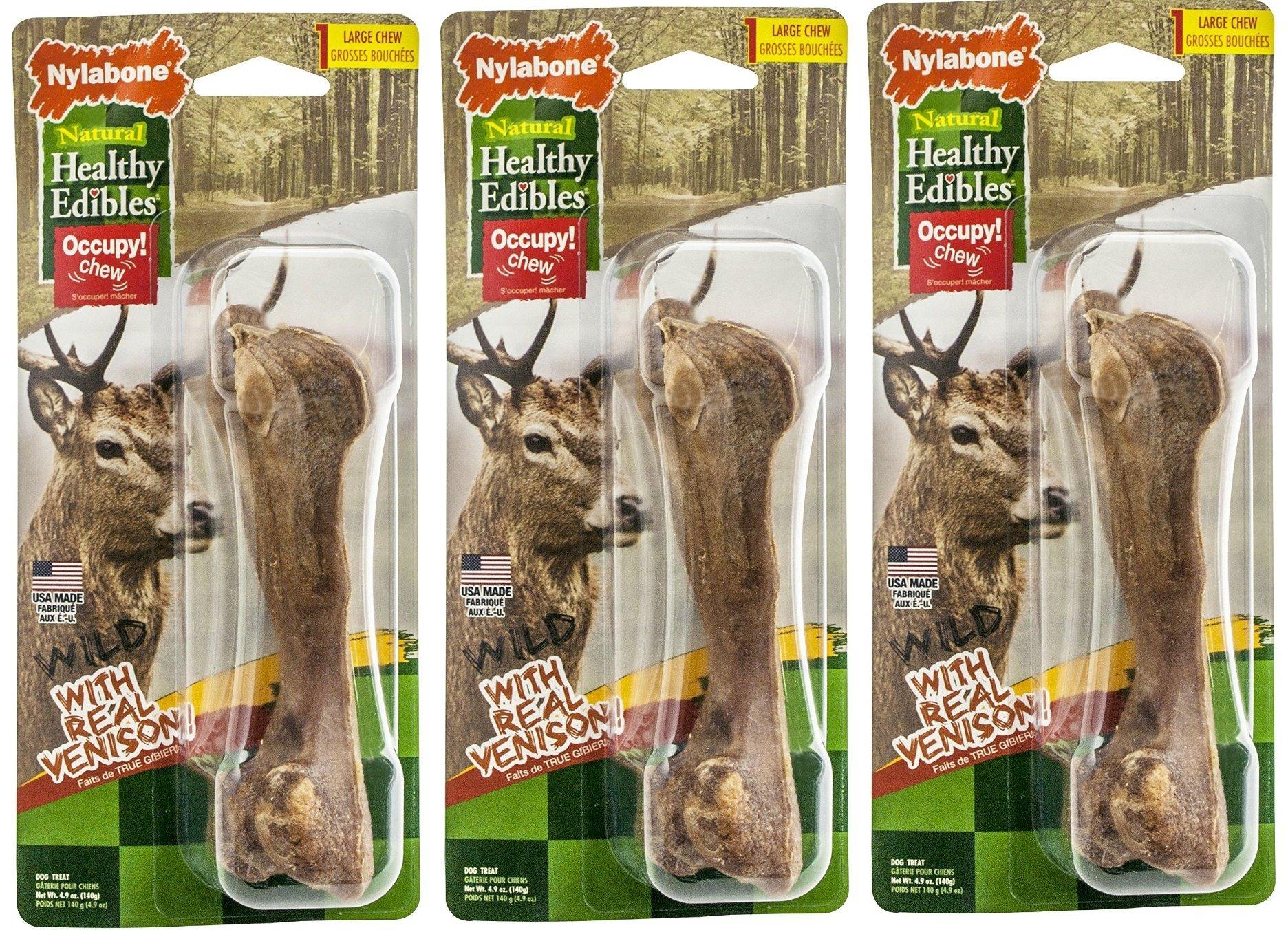 Nylabone 3 Pack Of Healthy Edibles Wild Venison Dog Treat Bones, Large