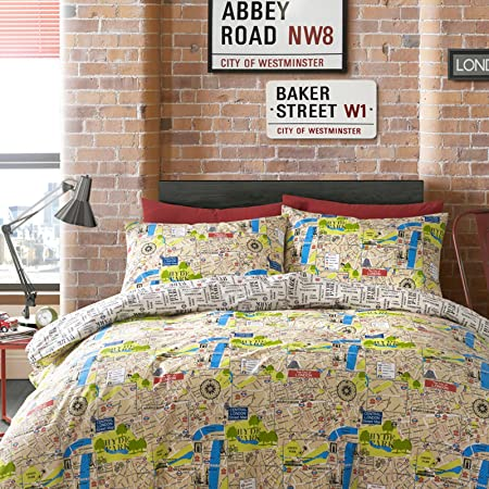 Hashbag bedding map duvet cover set double amazon kitchen hashbag bedding map duvet cover set double gumiabroncs Image collections