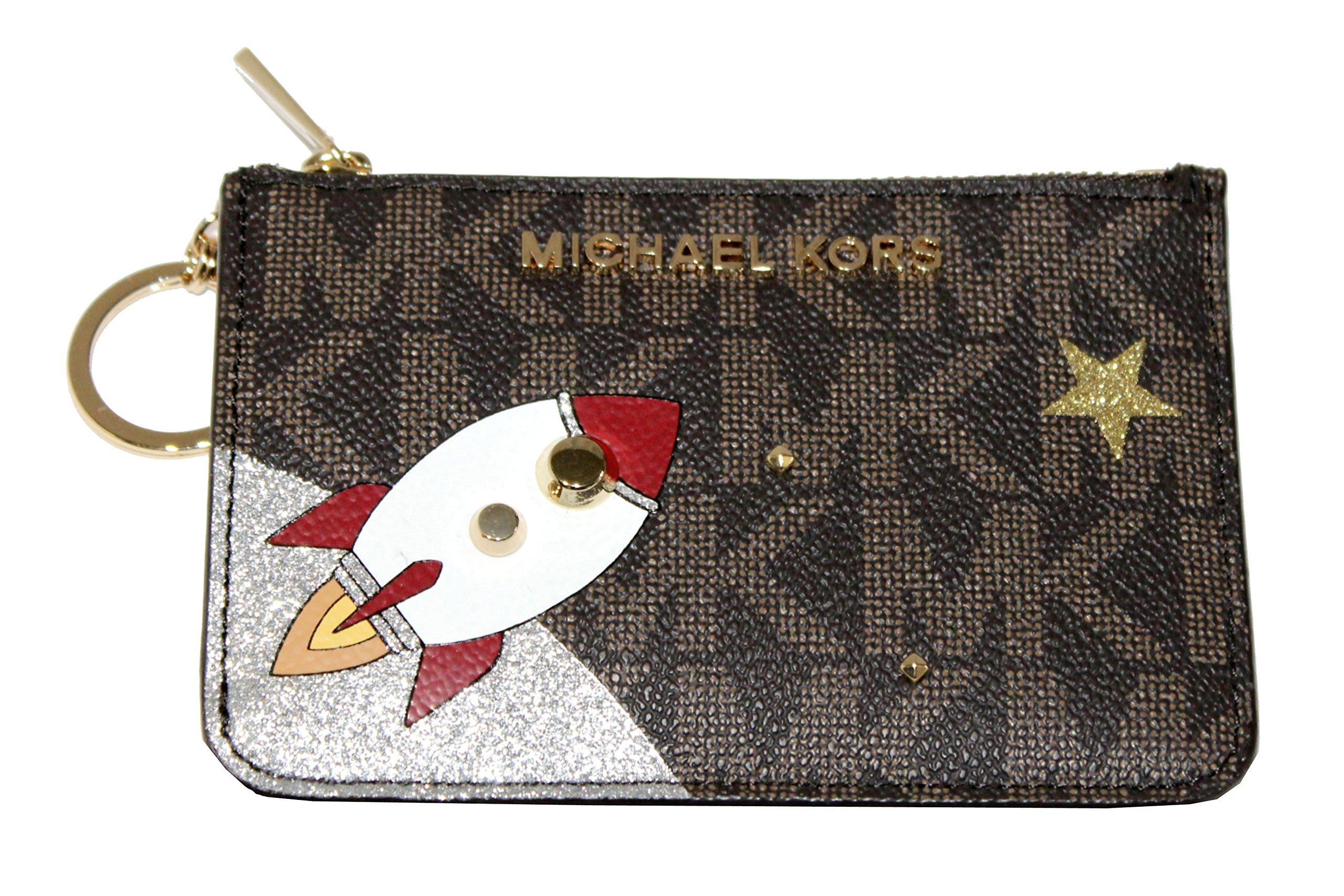 MICHAEL Michael Kors Women's Jet Set Item Small Top Zip ID Case Wallet (Brown/Gold)