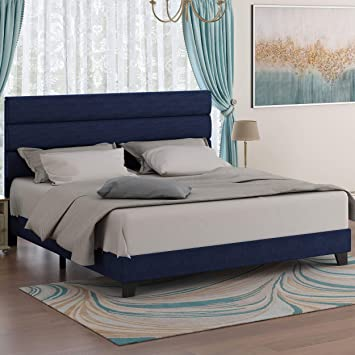Amazon Com Amolife King Size Fabric Upholstered Bed Frame With Headboard Platform Bed Frame With Strong Wood Slats Support Mattress Foundation No Box Spring Needed Navy Blue Furniture Decor