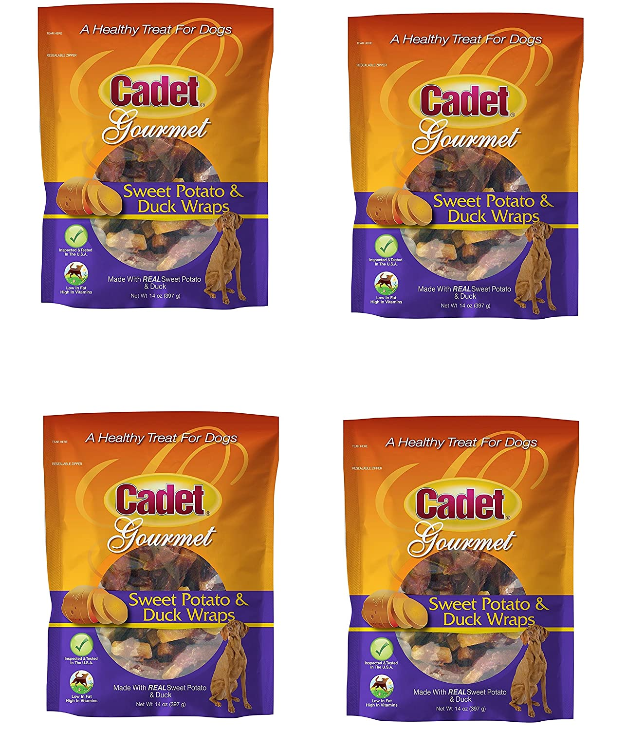 Cadet Gourmet Dog Sweet Potato and Duck Wraps Flavor Duck Size 14 Oz Pack of 4