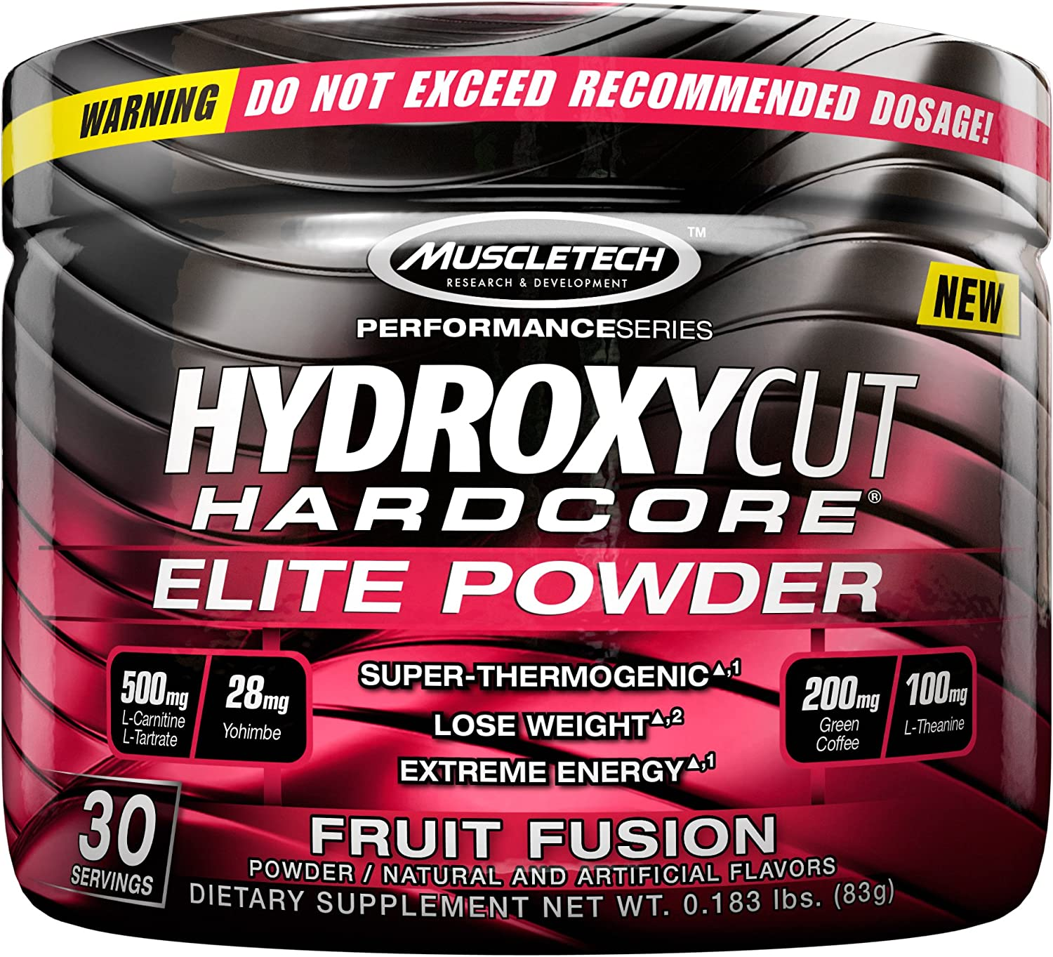 Hydroxycut Hardcore Elite Powder Fruit Fusion, 30 Servings, 72 Grams: Health & Personal Care