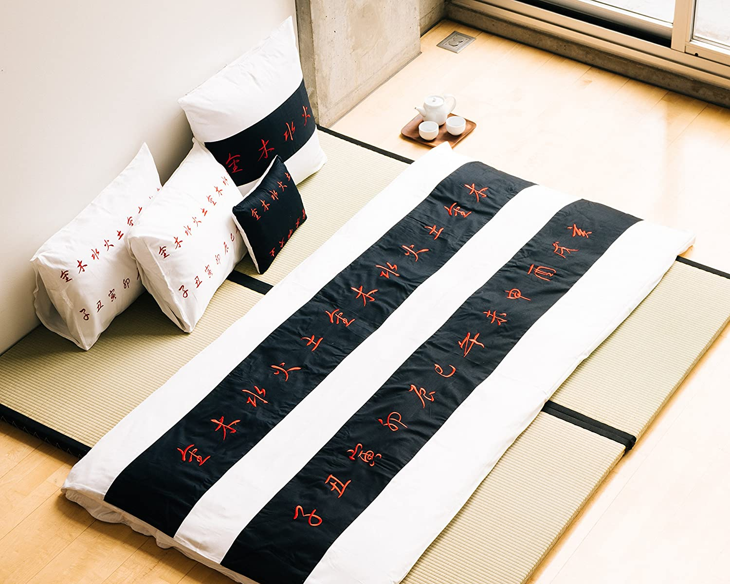 "King size black white and red striped 3 piece Duvet Cover Set, coverlet comforter 106""x92"" with 2 Pillows 20""x36"". Asian inspired decorative artsy design with Chinese calligraphy"