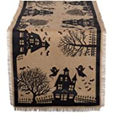 """DII 14x74"""" Jute/Burlap Table Runner, Haunted House - Perfect for Halloween, Dinner Parties and Scary Movie Nights"""