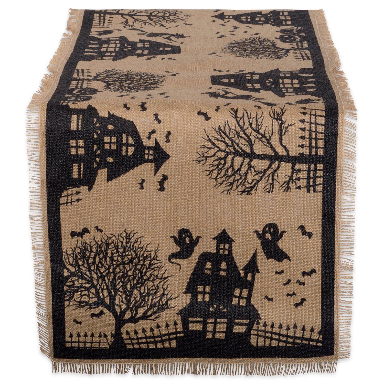 DII 14x74 Jute/Burlap Table Runner, Haunted House - Perfect for Halloween, Dinner Parties and Scary Movie Nights