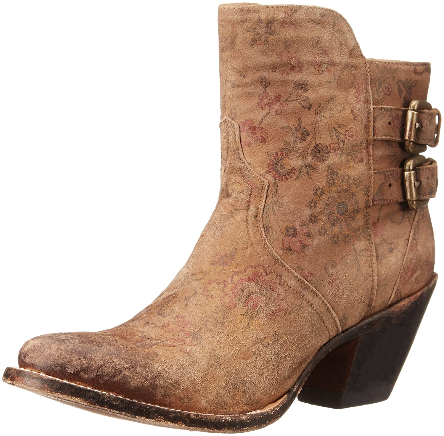 Lucchese Bootmaker Women's Catalina-Brown Floral Printed Shortie Ankle Bootie B00SBHZDM4 9.5 B(M) US|Brown
