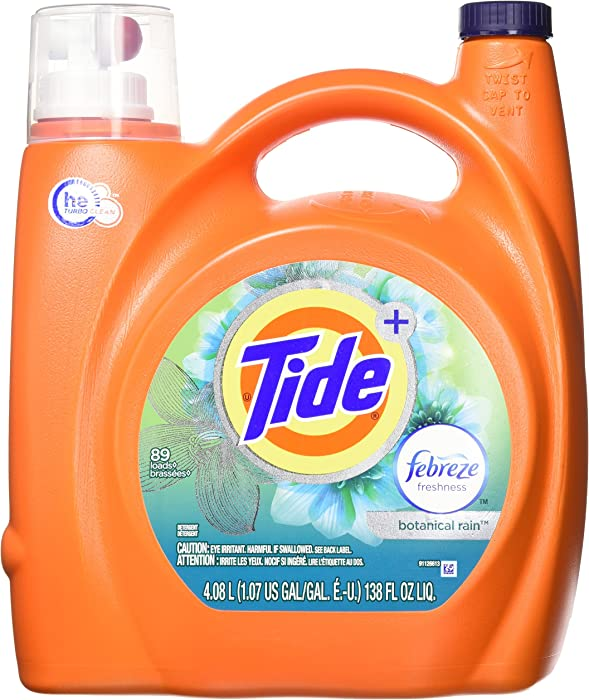 Tide Plus febreze Freshness, Botanical rain, he Turbo Clean Liquid Laundry Detergent, 138 oz, 1 Count
