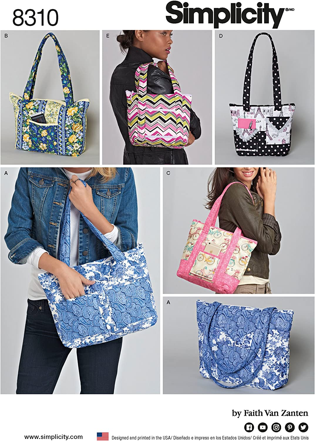 Simplicity Quilted Shoulder Bag Sewing Patterns, One Size Only