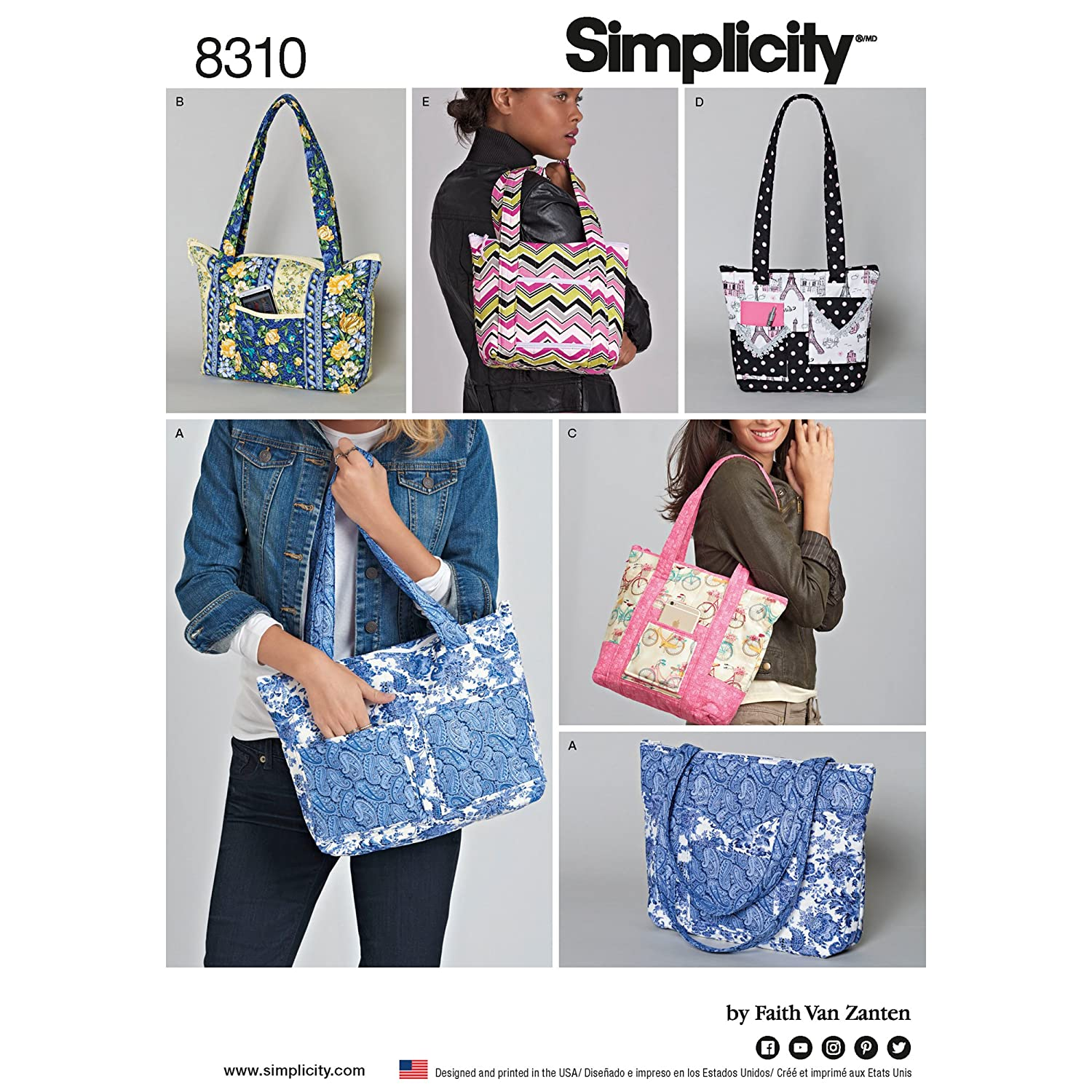 Simplicity Creative Patterns US8310OS Quilted Bags in Three Pattern, One Size (One Size) Simplicty Creative Corp