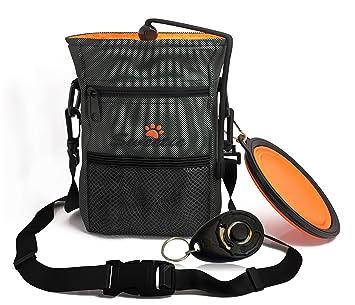 Bolsa de chucherías para el perro con estuche para bolsas de excrementos y cuenco de viaje