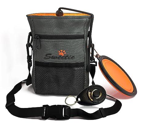 Bolsa de chucherías para el perro con estuche para bolsas de excrementos y cuenco de viaje para agua y comida, incluye clicker, bolsa de entrenamiento ...