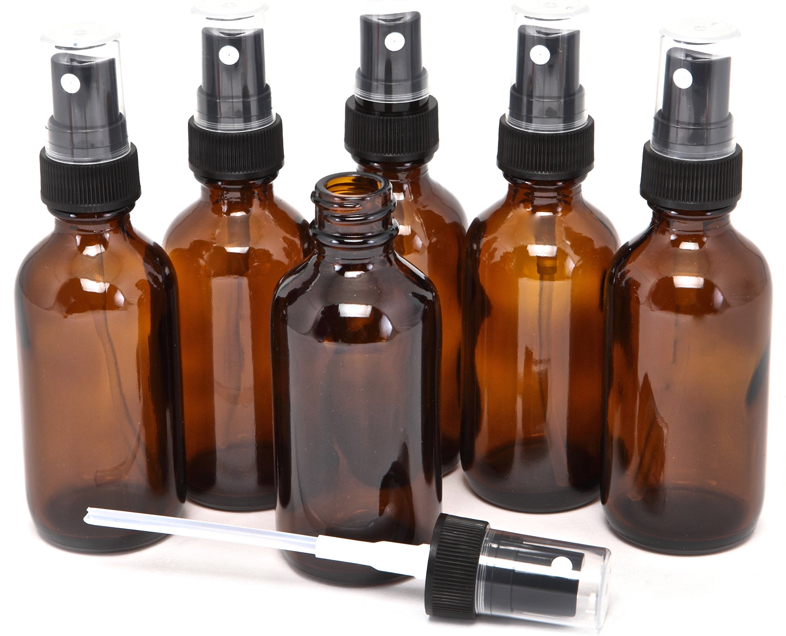 6, Amber, 2 oz Glass Bottles, with Black Fine Mist Sprayers