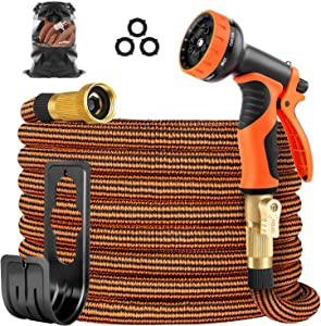 OUTZEST 50ft Expandable Garden Hose, Leakproof Lightweight Water Hose with 9 Functions Sprayer and Super Durable 3750D Fabric, Gardening Flexible Hose Pipe with Solid Brass Fittings