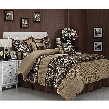 Amazon Com 7 Piece Exotic Leopard Print Comforter Set Queen Size