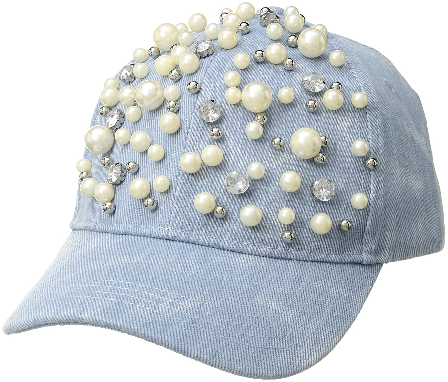 Betsey Johnson Women s Denim with Pearls Baseball Hat fcc818bf5b
