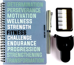 RBD Spiral Bound Workout Log Book Wellness and Fitness Journal with Pen, Tape Measure, and Index Tab Stickers Track Your Progress Get Fit Faster