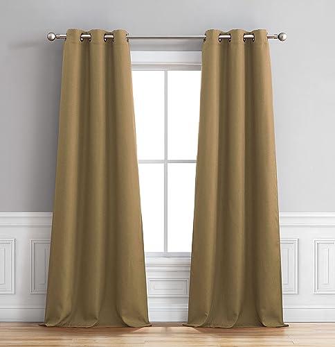 Bella Luna Henley Faux Linen Room Darkening 76 x 84 in. Grommet Curtain Panel Pair, Taupe
