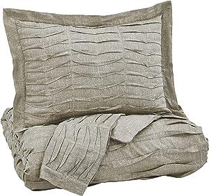 Ashley Furniture Signature Design - Voltos Duvet Cover Set - Includes Duvet & 2 Shams - Queen Size - Brown