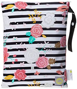 """Itzy Ritzy Sealed Wet Bag with Adjustable Handle – Washable and Reusable Wet Bag with Water Resistant Lining Ideal for Swimwear, Diapers, Gym Clothes & Toiletries; Measures 11"""" x 14"""", Floral Stripe"""
