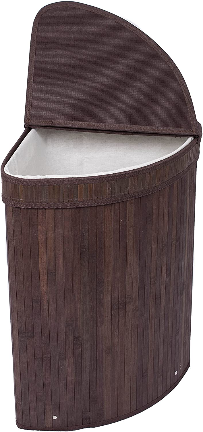 BIRDROCK HOME Corner Laundry Hamper with Lid and Cloth Liner - Bamboo - Espresso - Easily Transport Laundry Basket - Collapsible Hamper - String Handle