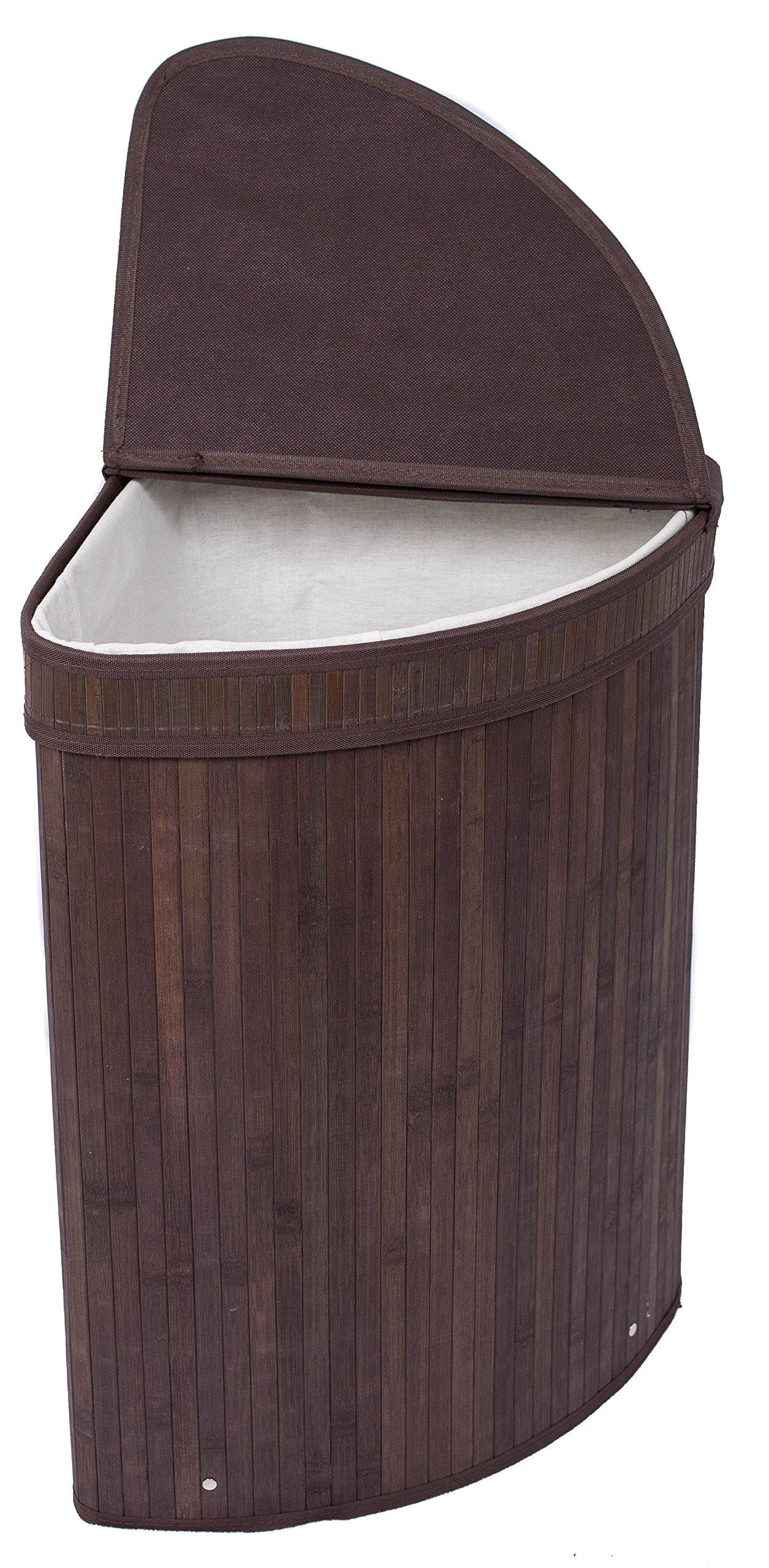 BirdRock Home Corner Laundry Hamper with Lid and Cloth Liner | Bamboo | Espresso | Easily Transport Laundry Basket | Collapsible Hamper | String Handle