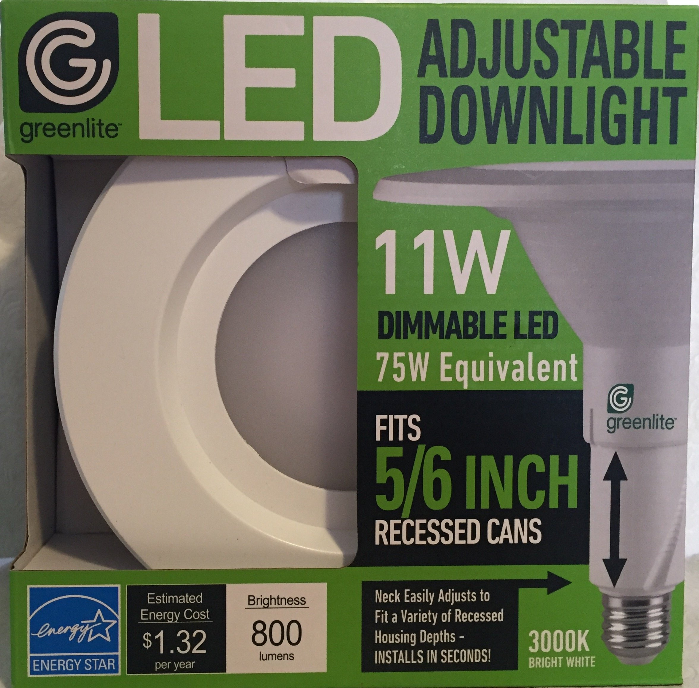 Greenlite 5/6 Inch Recessed Trim 11w Dimmable Led 75w Equivalent 3000K