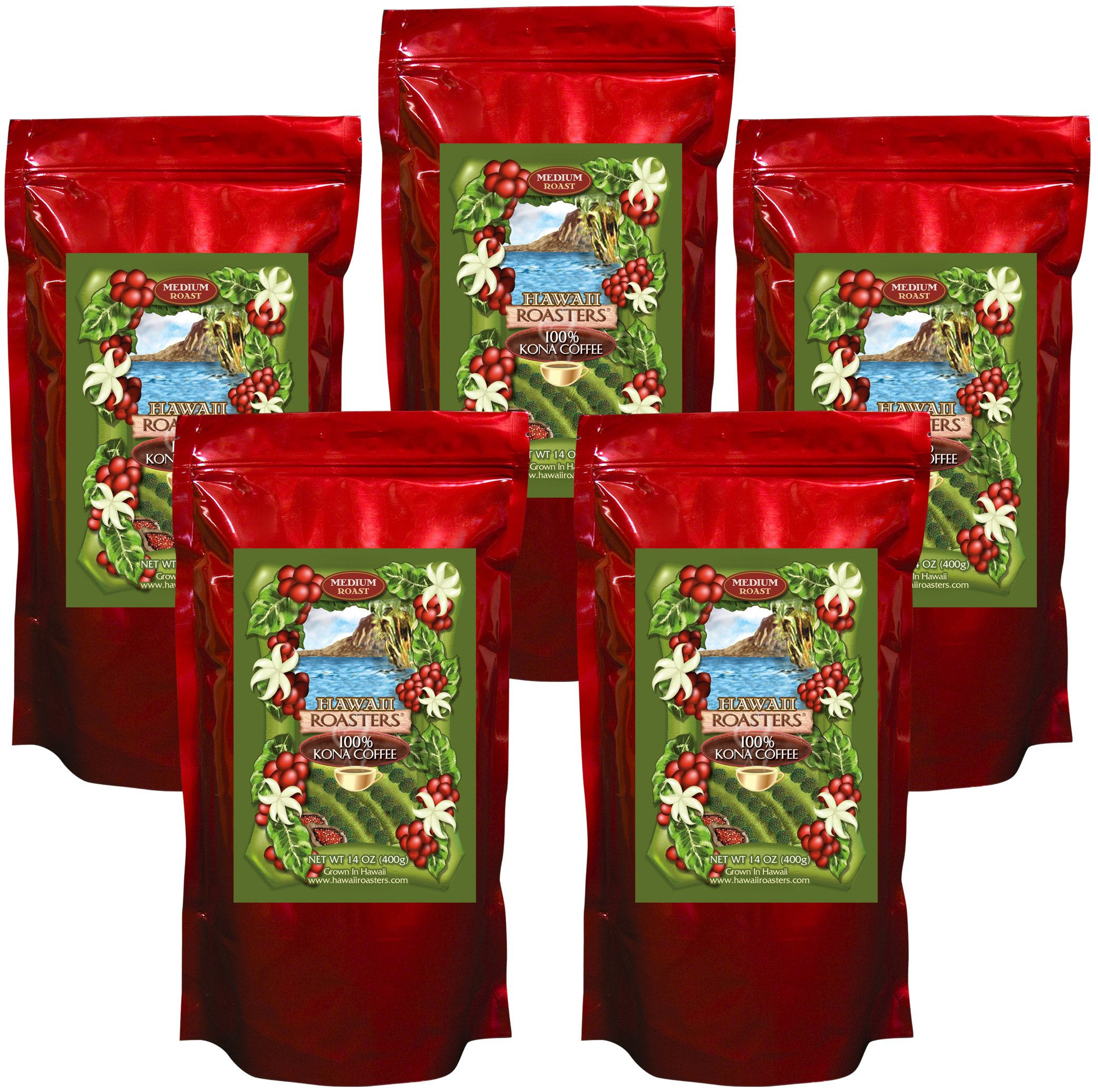 Hawaii Roasters 100% Kona Coffee, Medium Roast, Whole Bean, 5 14-Ounce Bag