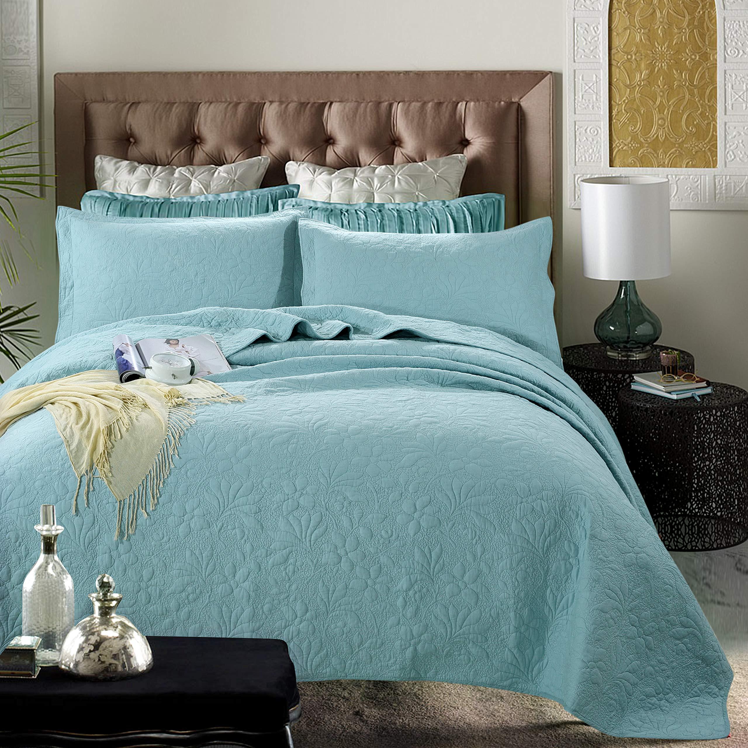 WINLIFE 3-Pieces Lightweight Bedspread for Summer Queen Size Orchid Print Matelasse Bedspread Coverlet Set (Queen, Turquoise)