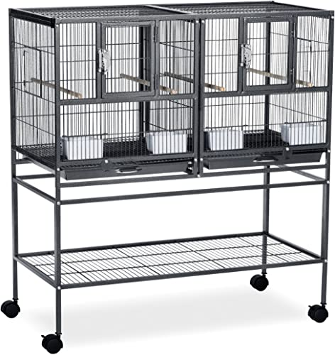 Prevue Pet Products F070 Hampton Deluxe Divided Breeder Cage with Stand,Black Hammertone,1 2