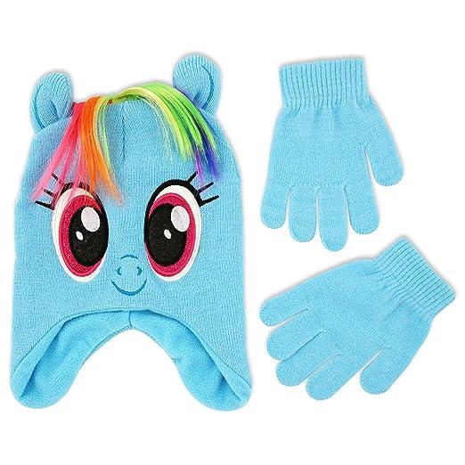 41da946937e Hasbro Big Girls My Little Pony Rainbow Dash Acrylic Knit Winter Hat with Polyfill  Stuffed Ears