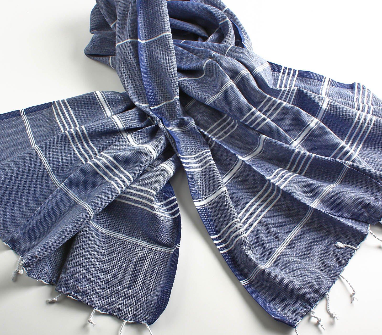 Cacala 100% Cotton Pestemal Turkish Bath Towel, 37 x 70, Dark Blue by Cacala (Image #4)