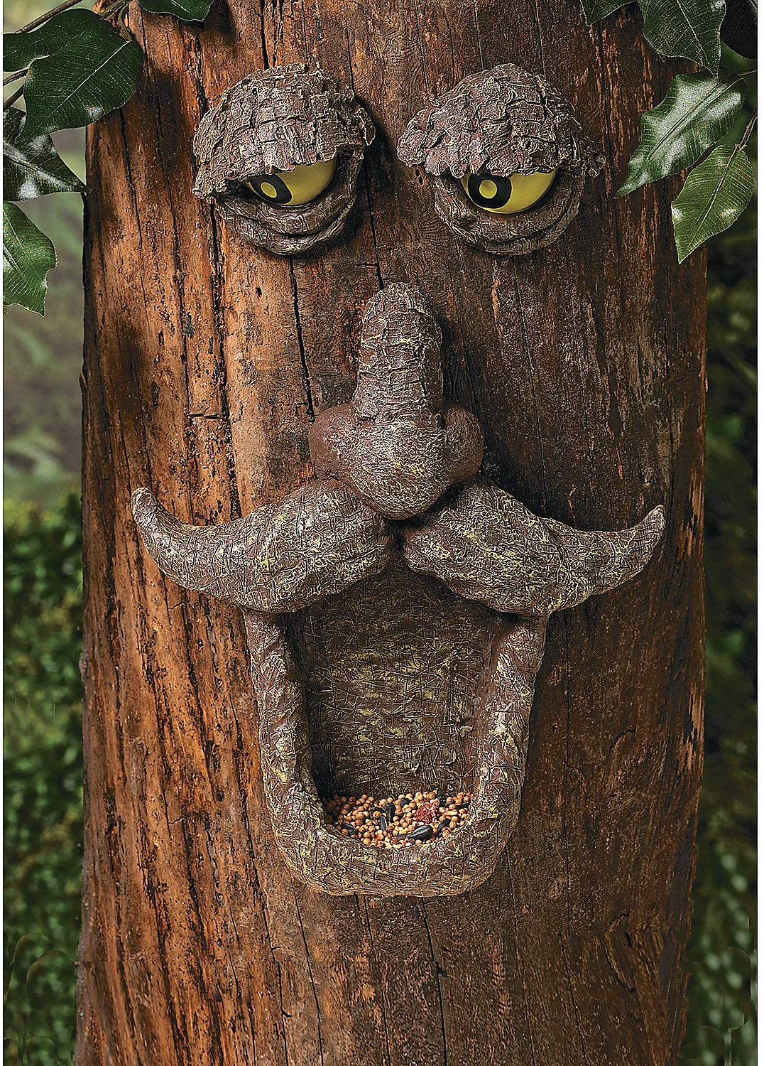 Tree Face Bird Feeder (Hand Painted) Fun Outdoor Decor Includes Glow in The Dark Eyes