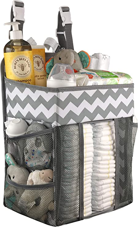 pocket on the crib to store books toys diapers Crochet crib organizer basket for baby cribs