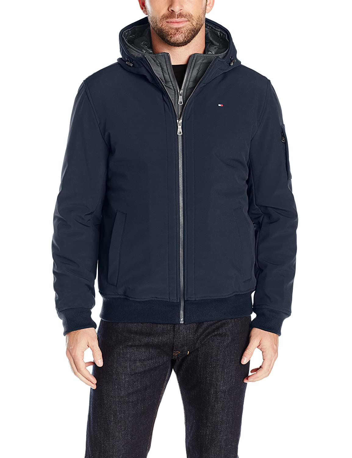 Tommy Hilfiger Mens Soft Shell Fashion Bomber with Contrast Bib and Hood Tommy Hilfiger Men/'s Outerwear 155AP223