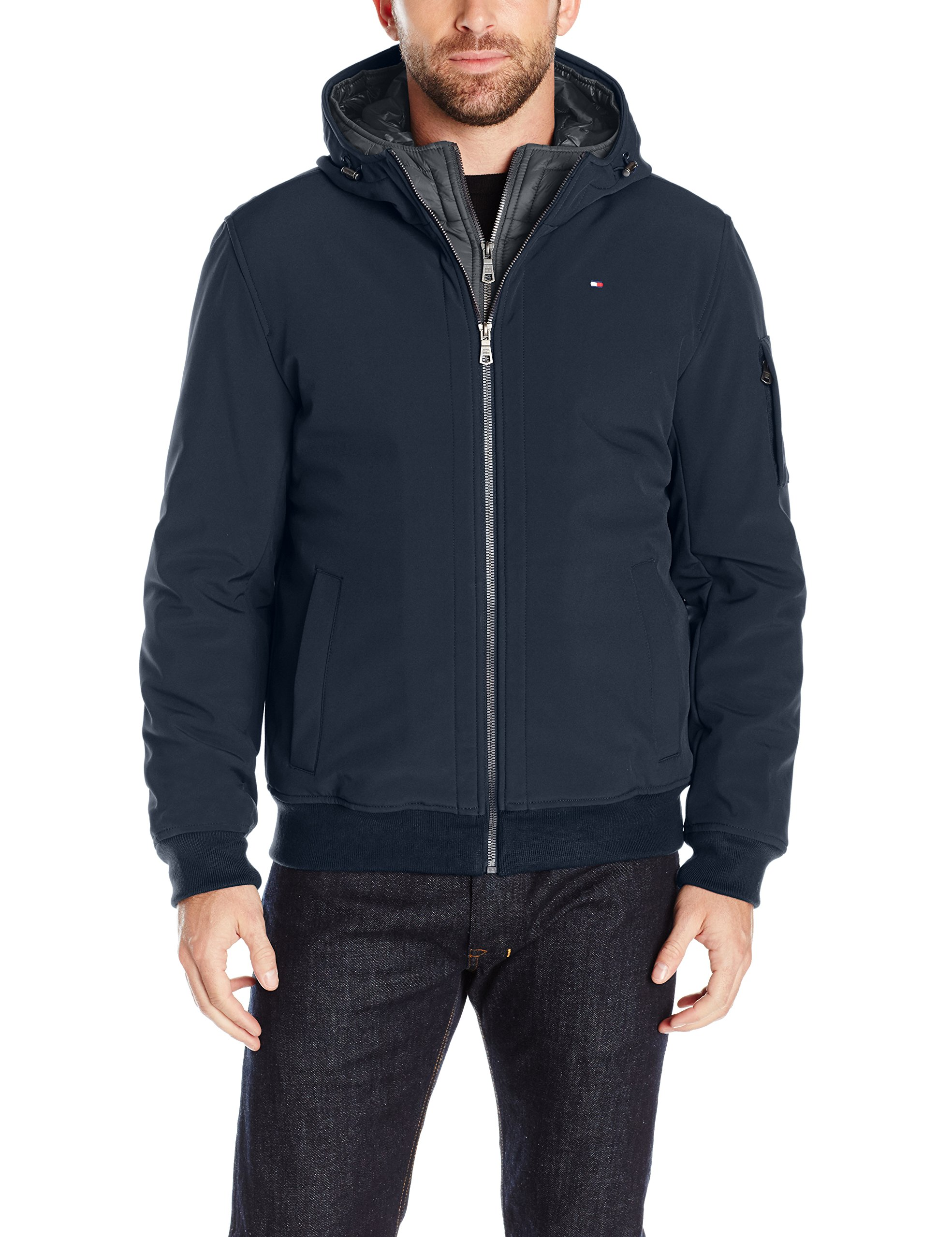 Tommy Hilfiger Men's Soft Shell Fashion Bomber with Contrast Bib and Hood, Midnight/Heather Charcoal, Medium