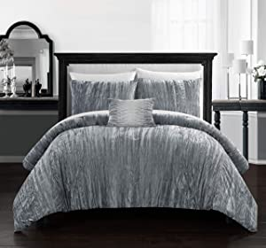Chic Home Westmont 4 Piece Comforter Set Crinkle Crushed Velvet Bedding - Decorative Pillow Shams Included, King, Grey