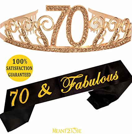 70th Birthday Tiara and Sash| HAPPY 70th Birthday Party Supplies| 70 &  Fabulous Black Glitter Satin Sash and Crystal Tiara Birthday Crown for 70th