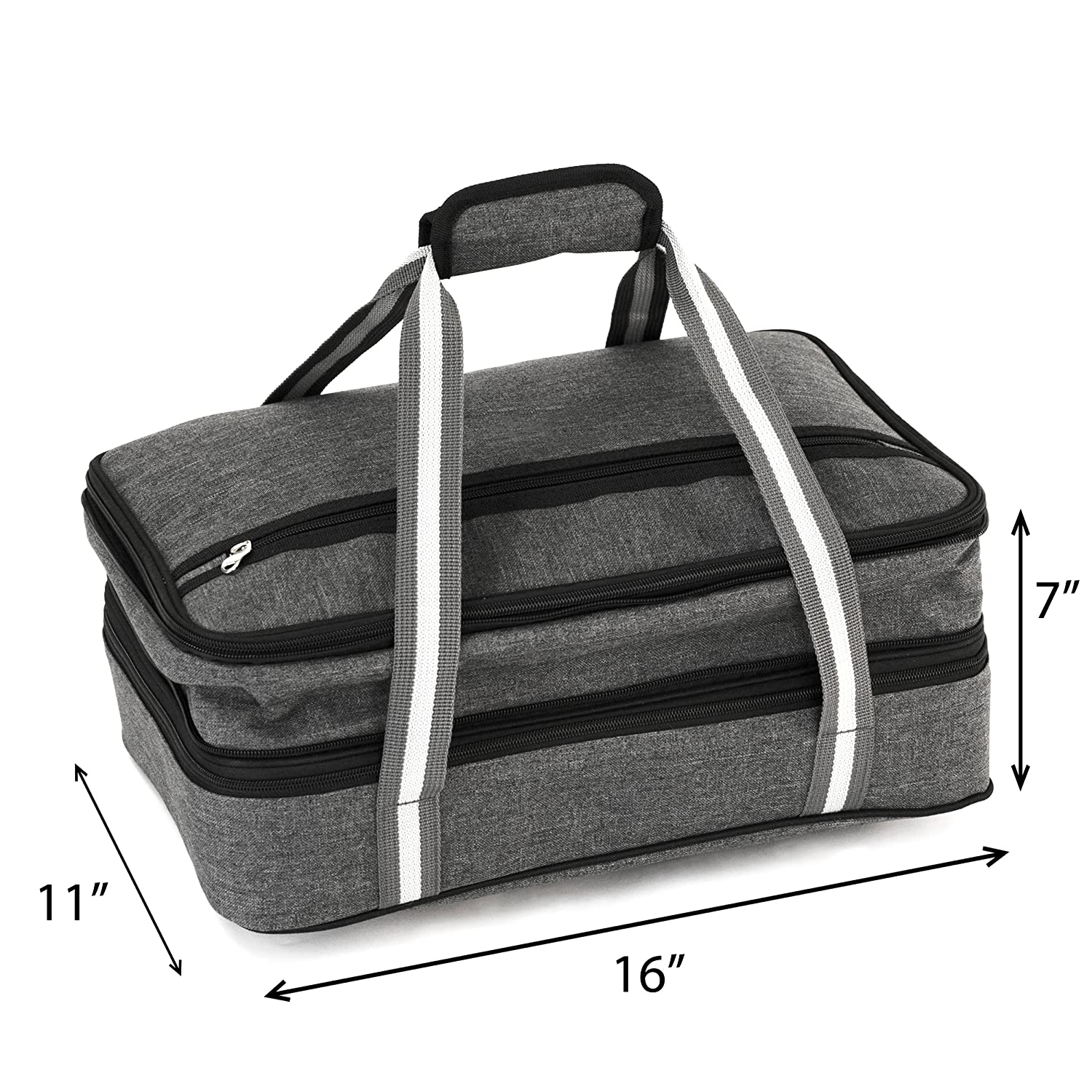 5e9ecc90610560 Insulated Expandable Double Casserole Carrier and Lasagna Holder for Picnic  Potluck Beach Day Trip Camping Hiking - Hot and Cold Thermal Bag in Gray –  Tote ...